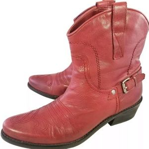 Franco Sarto Red Leather Western Bootie